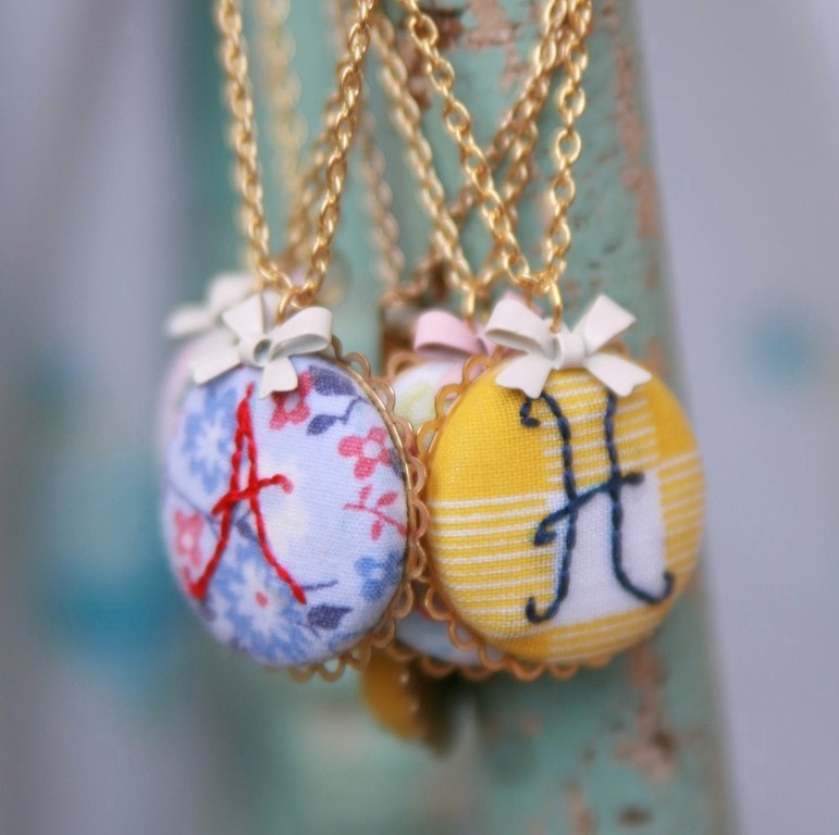 20120216 161709 Sweet Sophie Blue Embroidered Necklaces